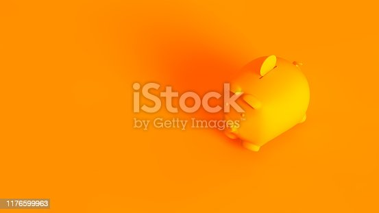 istock Piggy bank. Conceptual stereoscopic image of 3d rendered piggy bank, fully toned in orange color. 1176599963