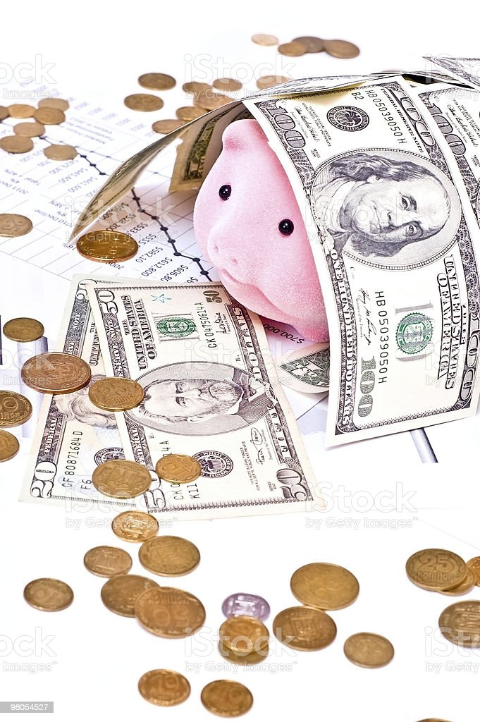Piggy bank covered money royalty-free stock photo
