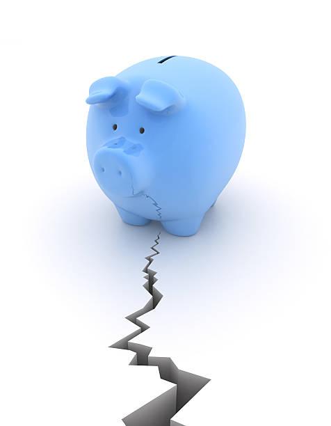 Piggy bank - earthquake stock photo