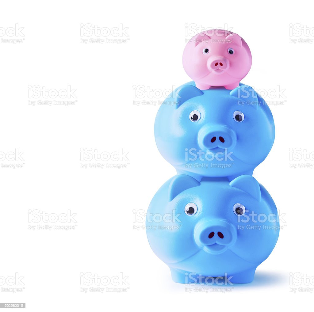 Piggy bank family on white background stock photo