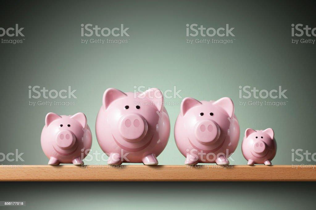 Piggy bank family stock photo