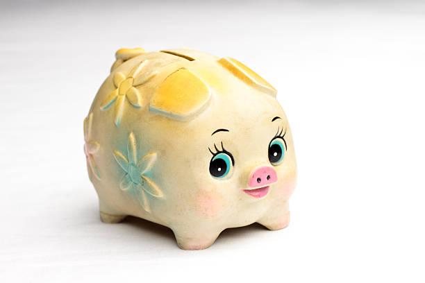 Piggy Bank Flowers stock photo
