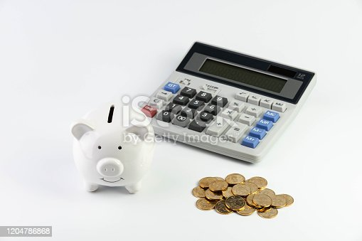 Piggy bank, Gold coin and Calculator