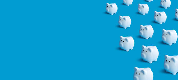 Piggy bank group pastel color background Piggy bank group pastel color background.money and financial concepts ideas stable stock pictures, royalty-free photos & images