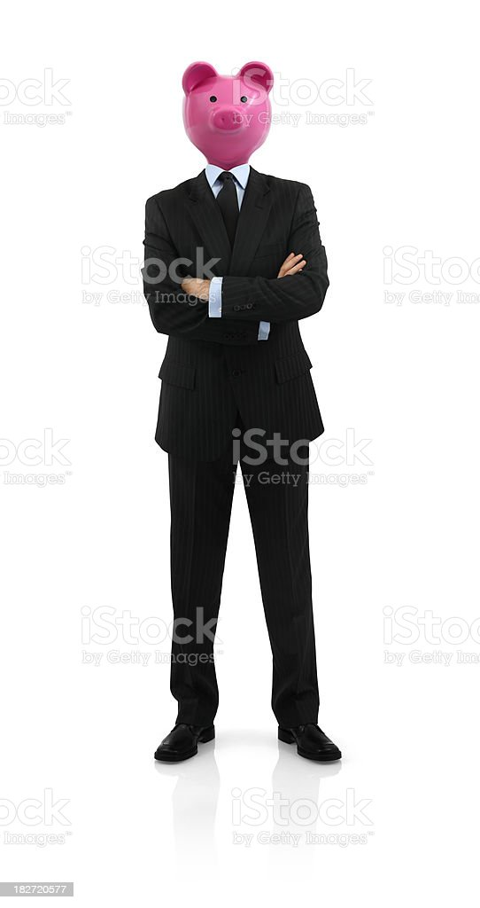Piggy Bank Head Businessman royalty-free stock photo