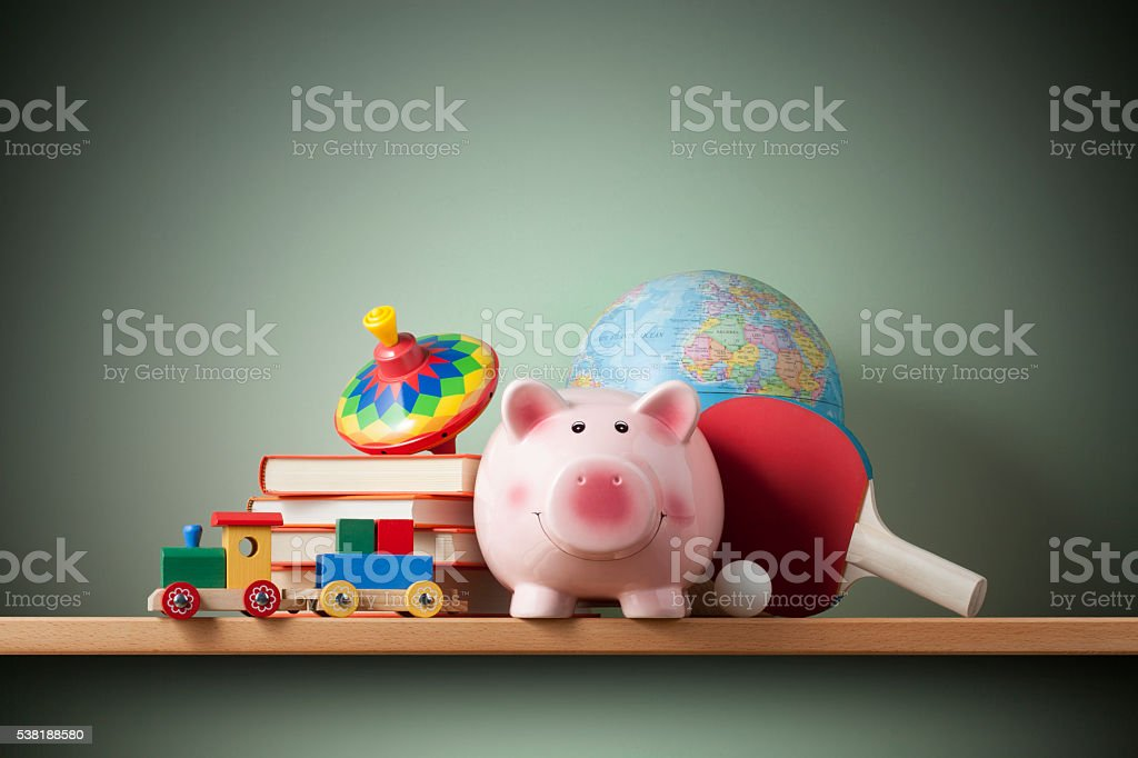Piggy bank in a child's room stock photo