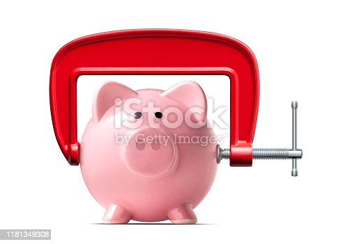 Piggy bank with clamp on white background.
