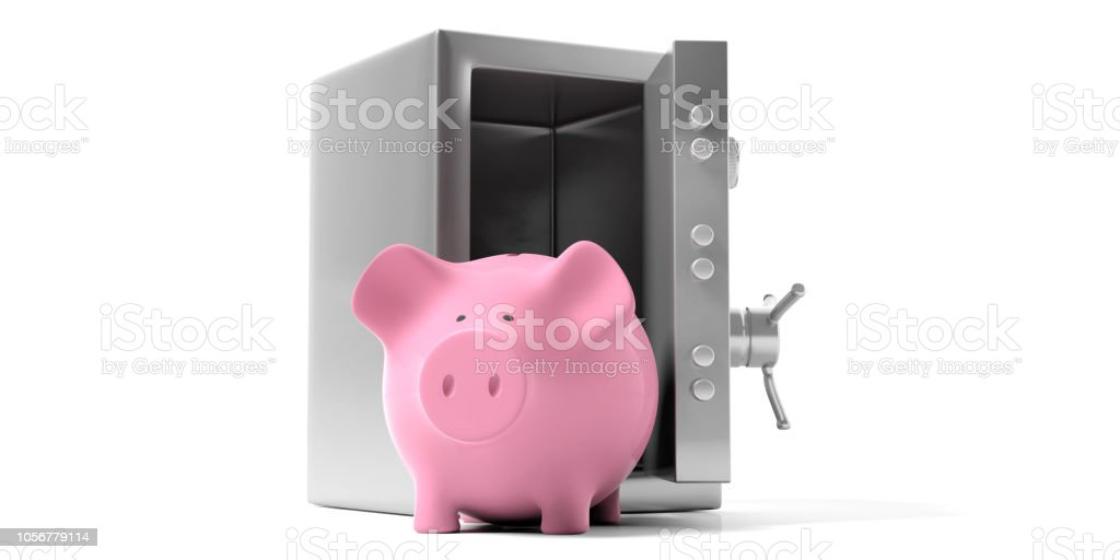 Piggy bank in a safety vault with open door on a white background. 3d illustration. стоковое фото