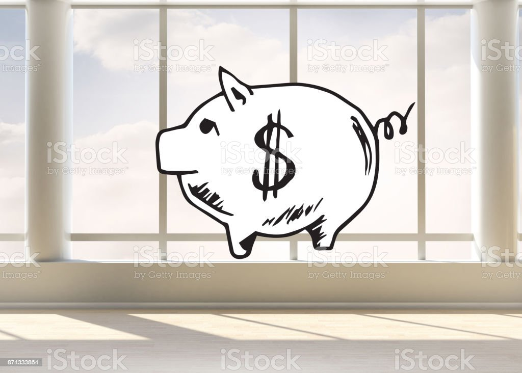 Piggy bank in bright room stock photo