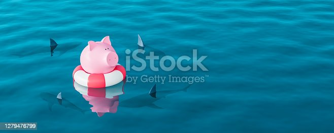 Piggy bank in lifebuoy on blue sea surrounded by sharks, Savings Protection Concept 3d render 3d illustration