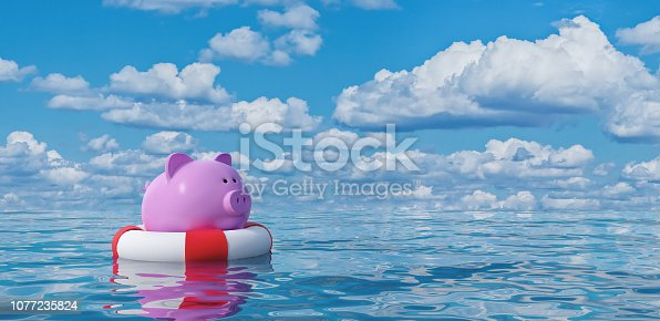 istock Piggy bank in lifebuoy on blue sea,Savings Protection Concept 3d render 1077235824