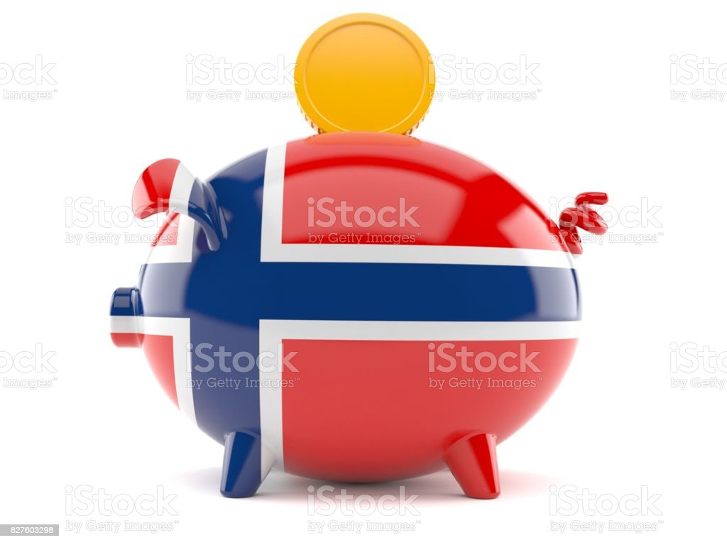 Piggy bank in norwegian flag with coin stock photo