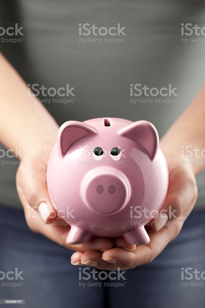 Piggy bank in the hands of a woman royalty-free stock photo