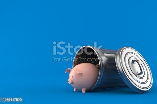 Piggy bank inside trash can isolated on blue background. 3d illustration