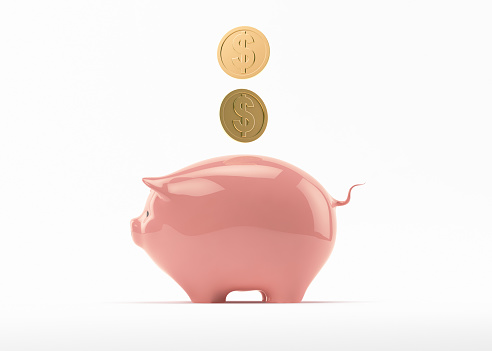 Piggy Bank Isolated on White Background. With Clipping Path