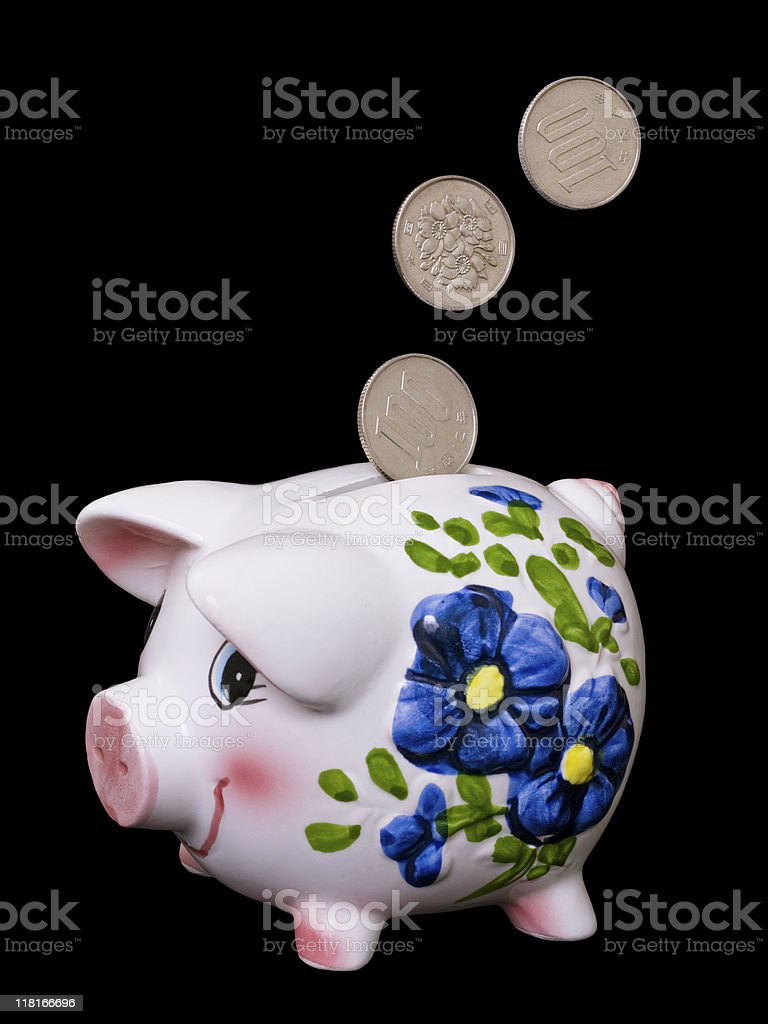 Piggy Bank - Japanese Coins royalty-free stock photo