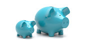 Savings for children, parent and child financial advise concept. Piggy bank little and large, blue color isolated against white background. 3d illustration