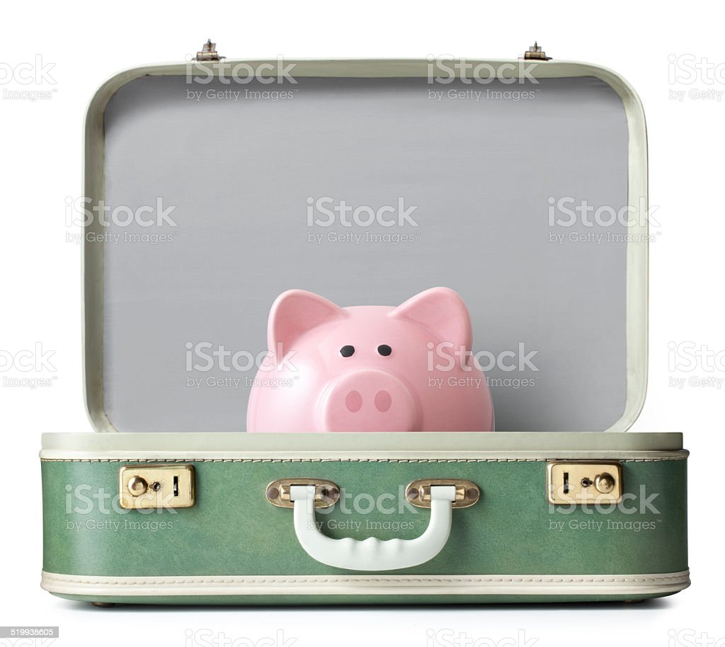 Piggy bank on a suitcase stock photo