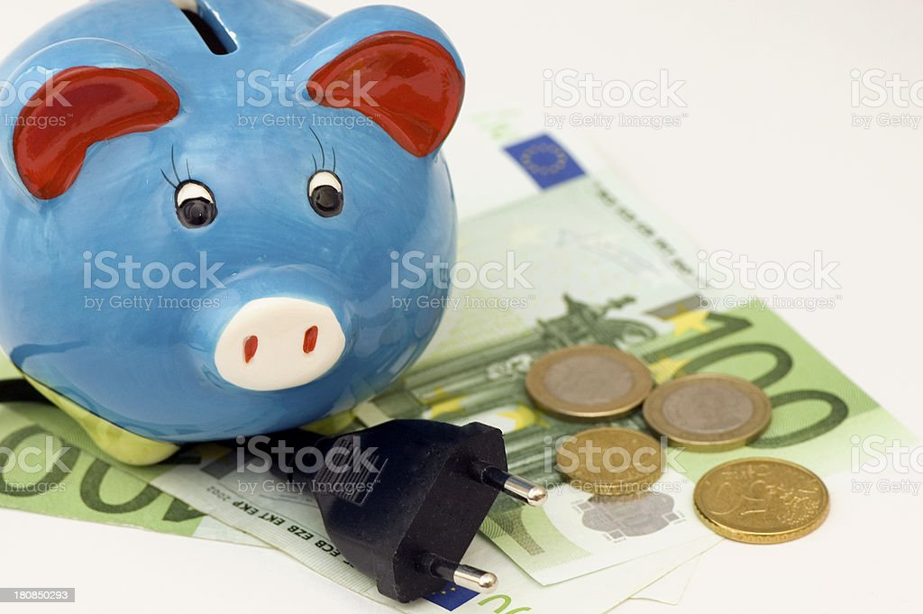 Piggy Bank on Cable and money royalty-free stock photo
