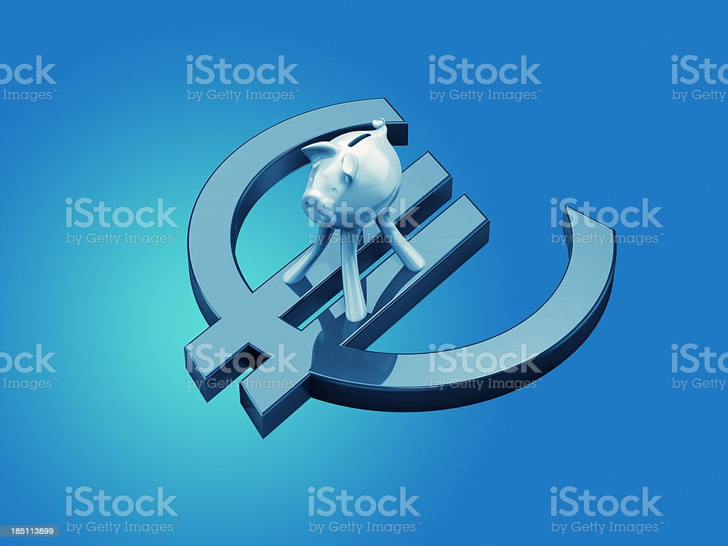 Piggy bank on Euro currency symbol stock photo