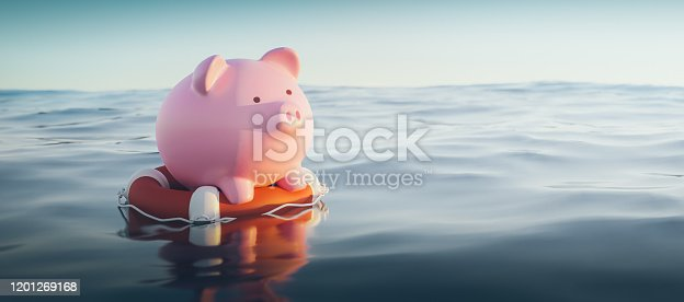 Piggy Bank On Lifebuoy, 3d Render
