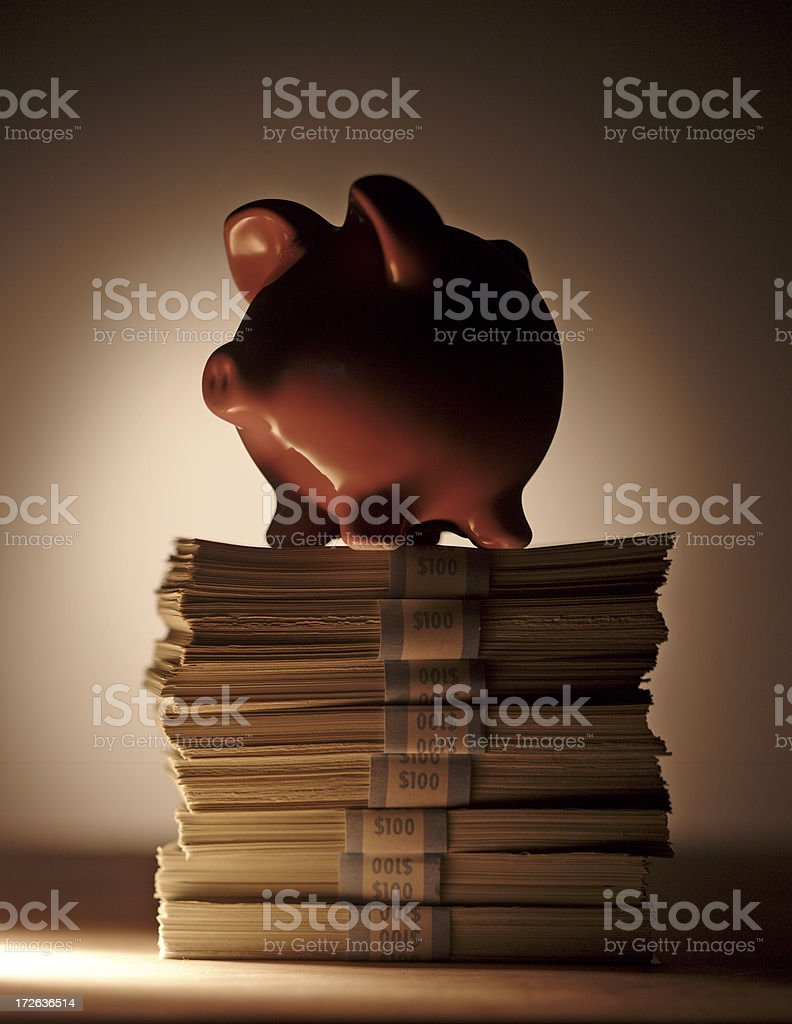 Piggy Bank on Money Stack royalty-free stock photo