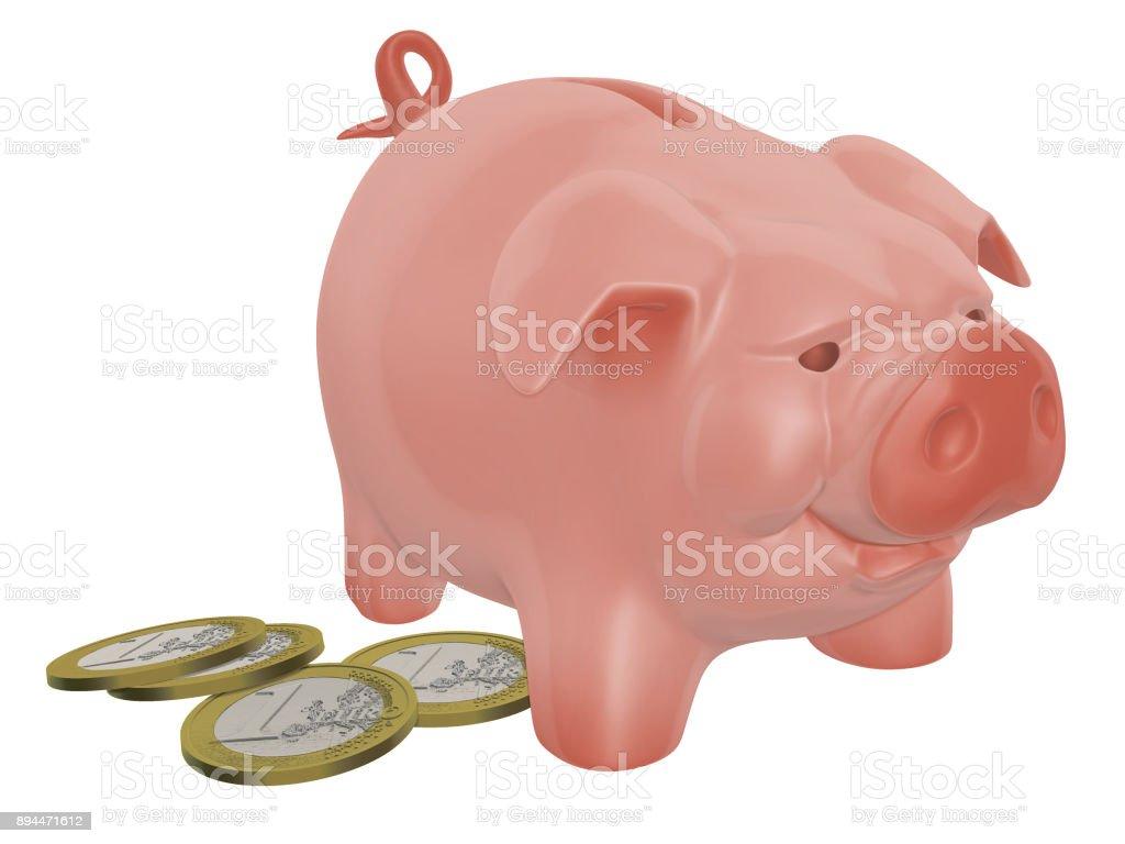 Piggy bank on the white background 3d illustration stock photo