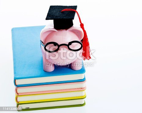 Piggy bank on top of stack of books.