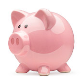 Piggy bank on white background. Photo with clipping path
