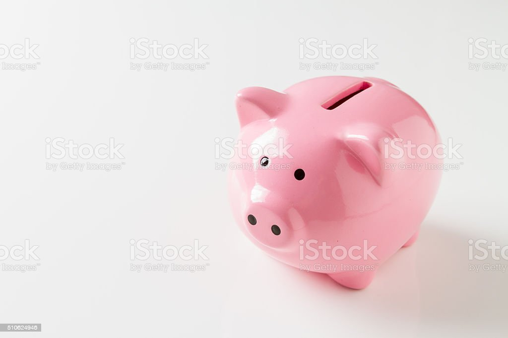 Piggy bank on white background stock photo