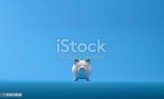 Piggy bank over blue background