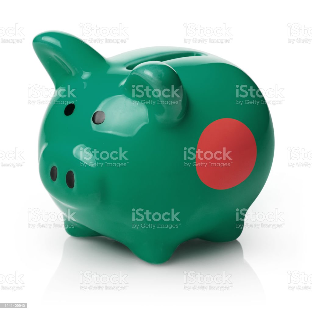 Piggy bank painted in the flag of Bangladesh stock photo