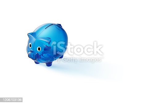 Blue Plastic Piggy Bank