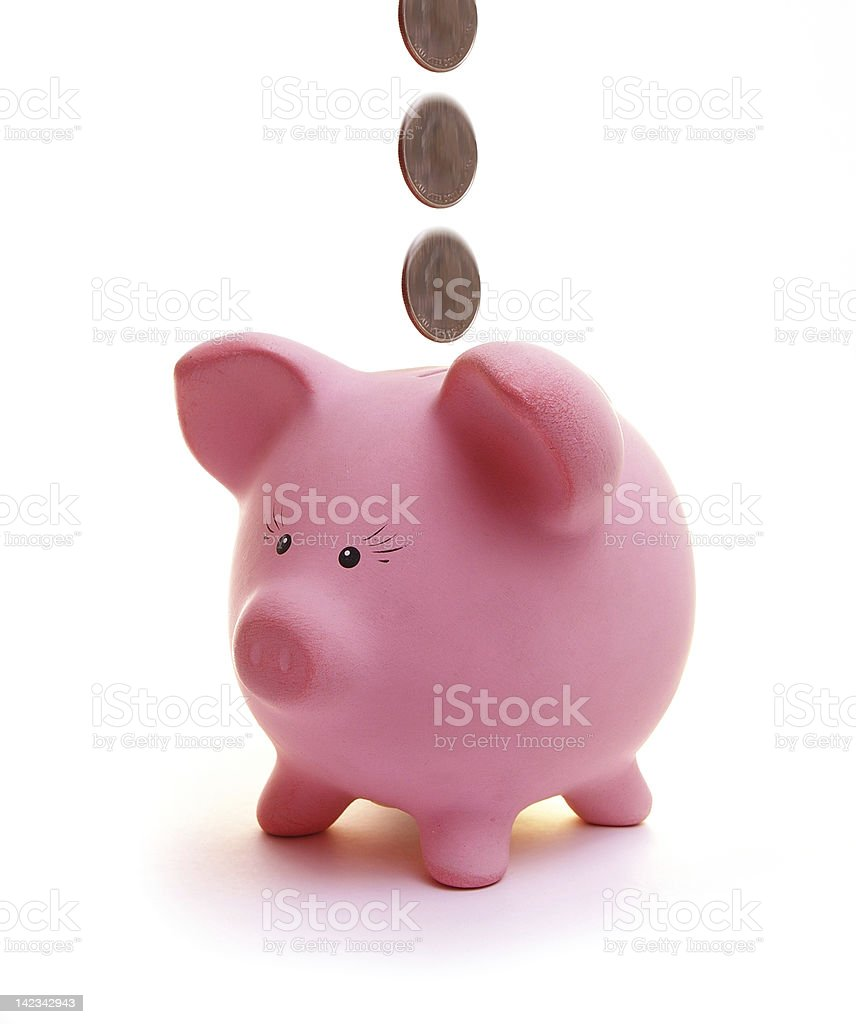 piggy bank Piggy bank with falling coins isolated on white Coin Stock Photo