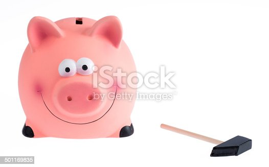 Cute pink piggy bank on white background.