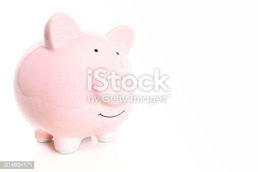 Piggy bank on white.