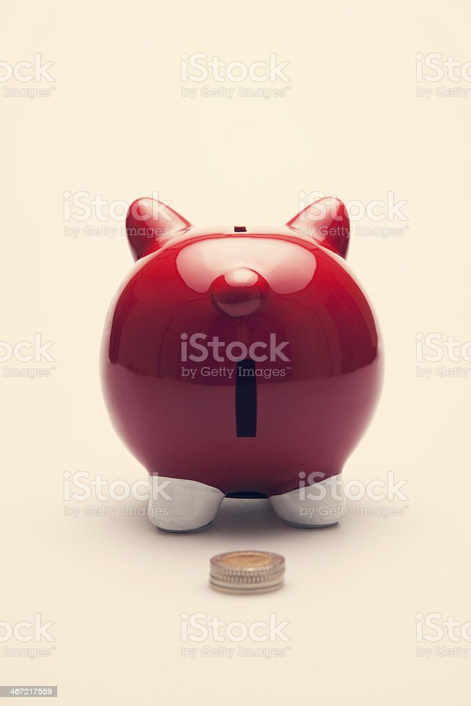 Piggy bank. Rear view. stock photo