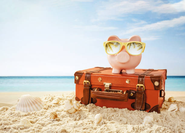 Piggy bank resting on the tropical beach stock photo