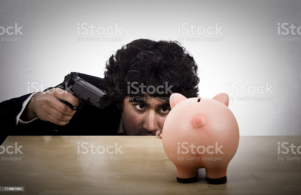 Piggy bank robbery royalty-free stock photo