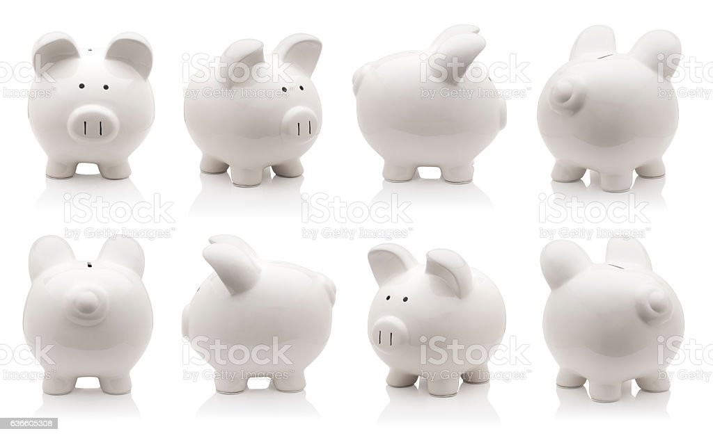 piggy bank set stock photo