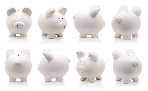 piggy bank set - piggy bank stock photos and pictures