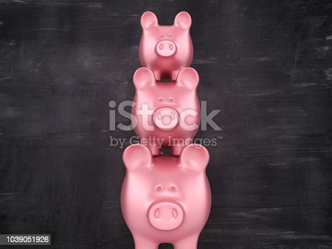 istock Piggy Bank Stack on Blackboard - 3D Rendering 1039051926