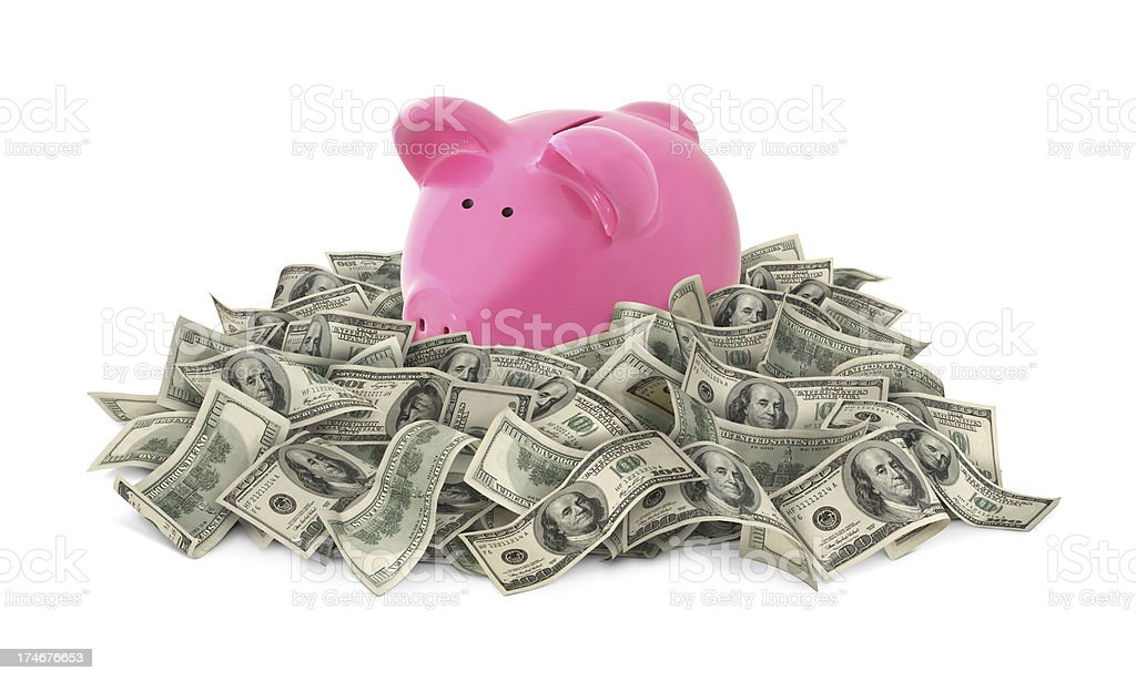 Piggy Bank Standing In Money royalty-free stock photo