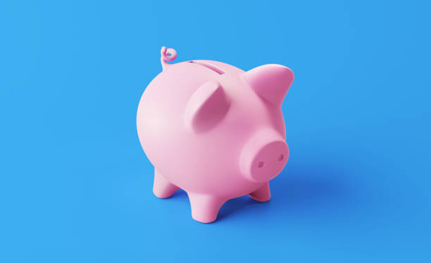 Piggy Bank Standing on Blue Background stock photo