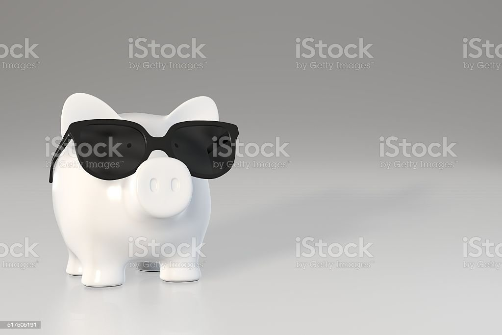 Tirelire en forme de cochon-lunettes de soleil - Photo