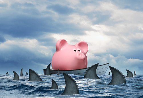 A pink piggy bank in a small boat that is stranded at sea and is surrounded by a swarming school of sharks.