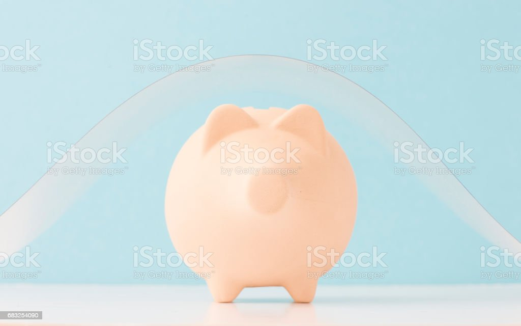 Piggy bank under shelter Lizenzfreies stock-foto