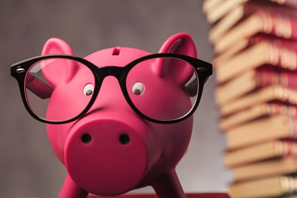 piggy bank weaking glasses and faces the camera - bücherbund stock-fotos und bilder