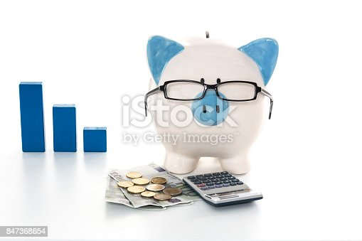 istock Piggy bank wearing glasses with calculator and cash and blue graph in background 847368654