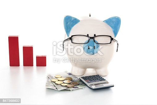 istock Piggy bank wearing glasses with calculator and cash and red graph in background 847368602